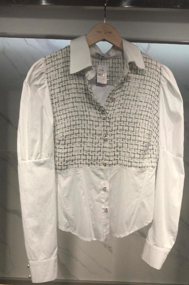 Camisa Morina  Com Tweea  +Tricoline  Com Botões Perolados
