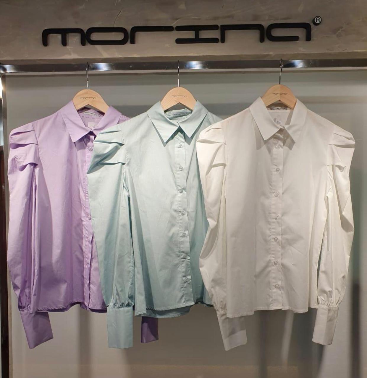 Camisa Morina Tricoline Detalhe pregas nas Mangas