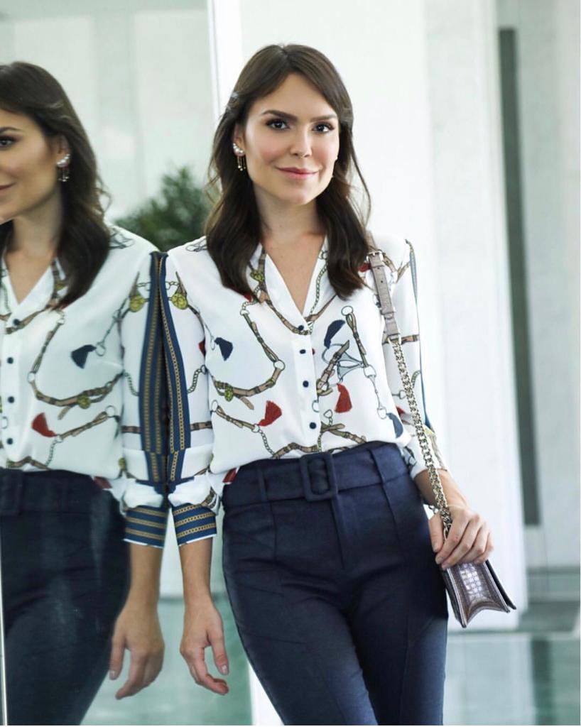 Camisa Patricia Crepe  print lenço