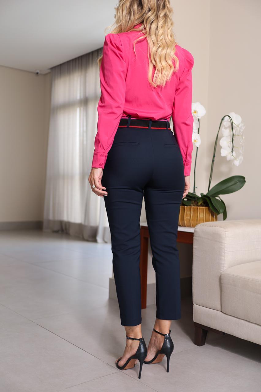 Camisa Paula Tricoline 3% Elastano Manga Bufante Detalhe Pregas/Botões