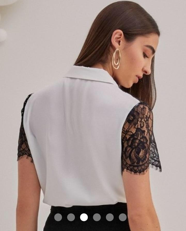 Camisa Renata Crepe Detalhe Pala Renda Chantily Contraste