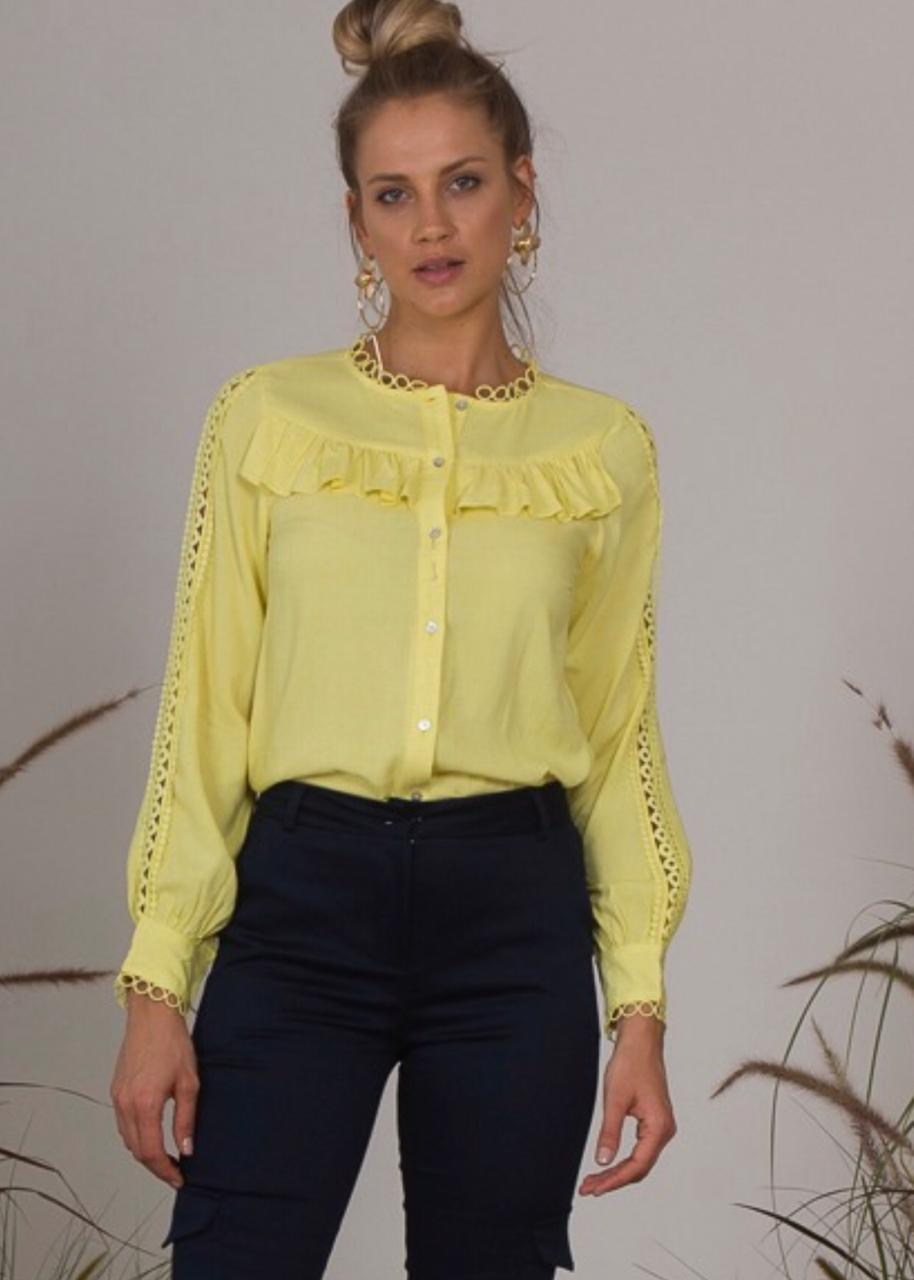 Camisa Samanta Viscose 85% e linho 15% Cores Azul, Areia, Amarelo e Rose
