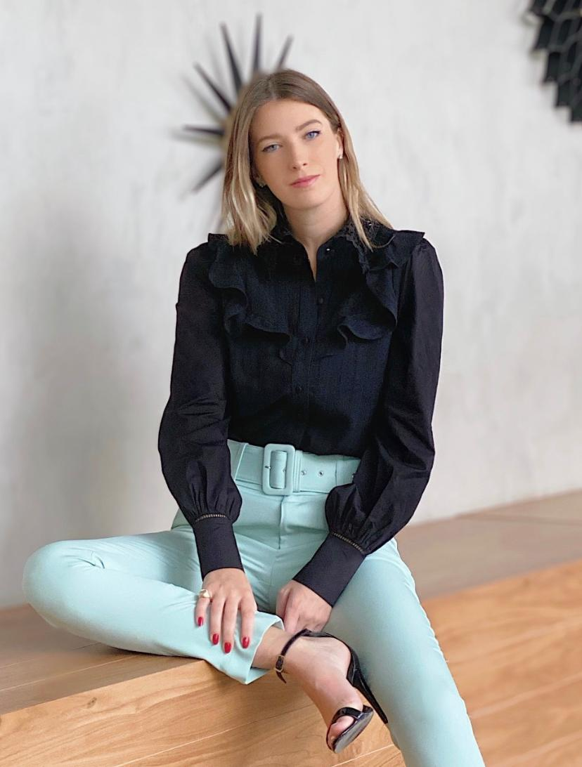 Camisa Selena Algodão Mangas De Tricoline E Gola De Guipir