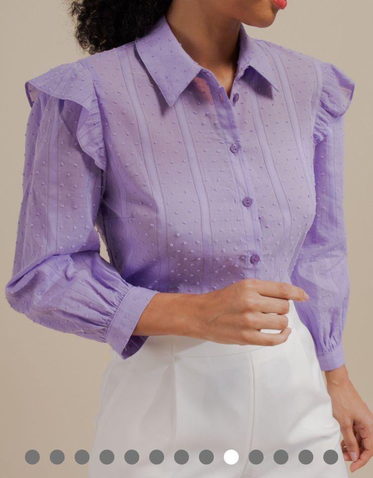 Camisa Soraia Algodão Textura Detalhe Babados