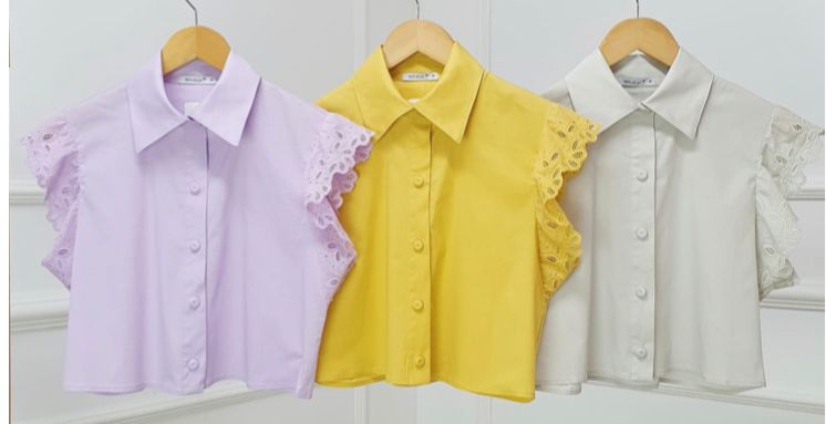 Camisa Suellen Tricoline Manga Laise