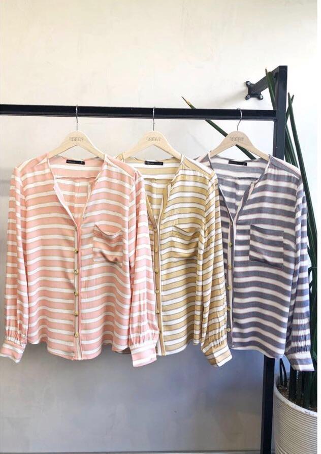 Camisa Talisa  Listras Viscose Cores Rose, Marinho e Mostarda