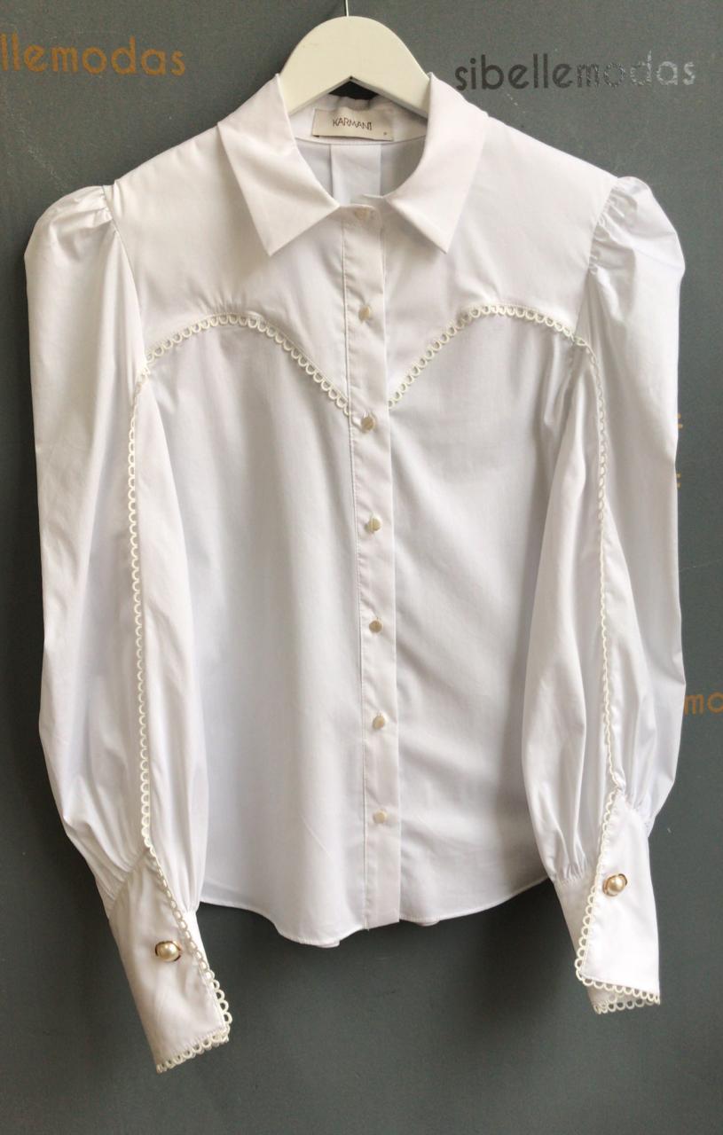 Camisa Talita Tricoline Manga Bufante Detalhe Recortes Guipir 3% Elastano