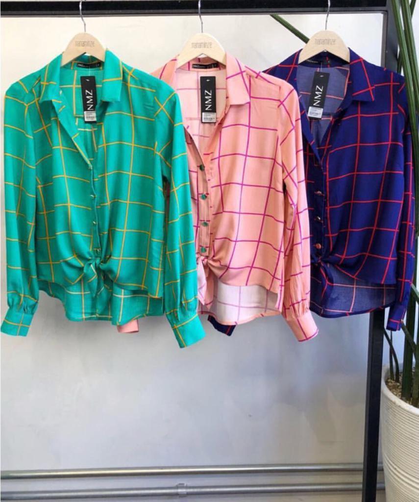 Camisa Tamires Viscose Cores Rose e Verde