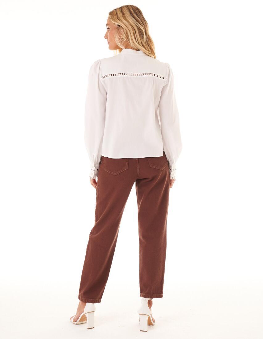 Camisa Tauane Tricoline Detalhe Vazado Renda