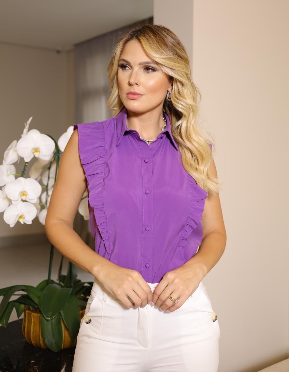 Camisa Vanessa Viscocrepe Tricoline Cavada Detalhe Babado