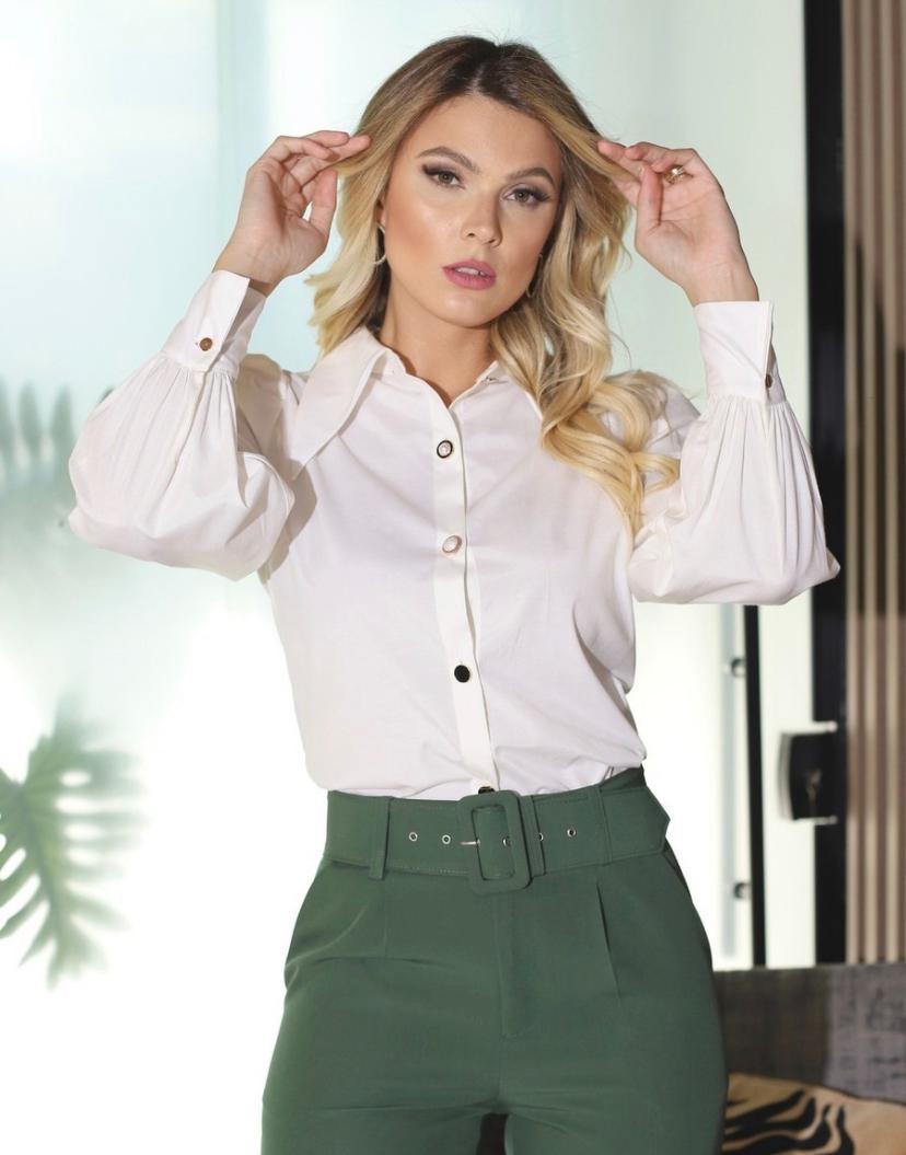 Camisa Zoe  Tricoline Botoes Detalhe Botões +3% Elastano