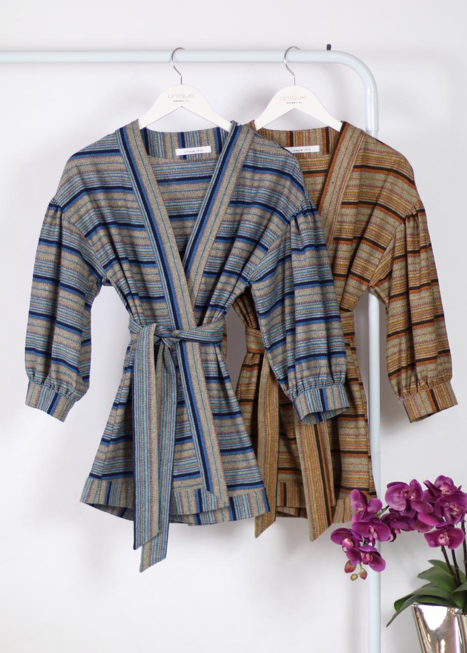 Casaco Kimono Amanda Viscolinho Listrado Detalhe Amarração