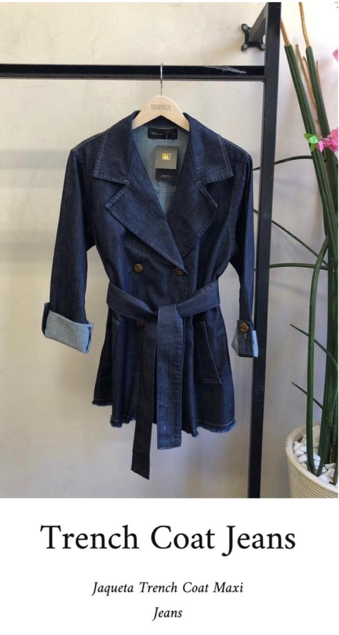 Casaco Trench Coat Jeans C/Cinto