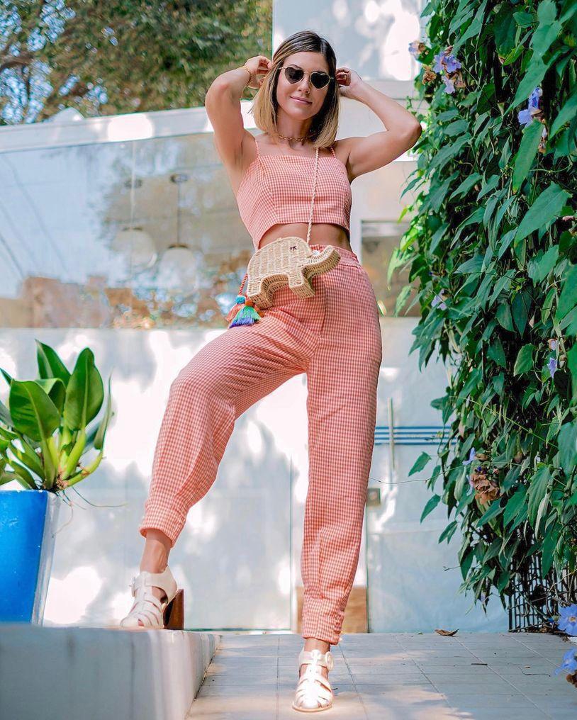 Conjunto  Capri Crepe Xadrez Detalhe Lastex costas e Alças Regulaveis