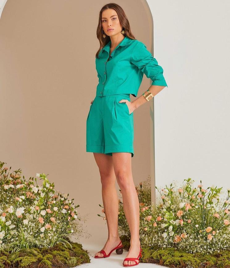 Conjunto Celine Tricoline Detalhe Shorts Cintura Alta Pregas Cós + Cinto 3% Elastano