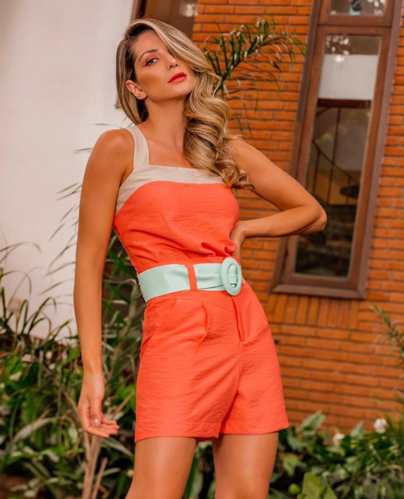 Conjunto Fiorela Viscose + Poliamida Com faixa (Shorts e Regata)