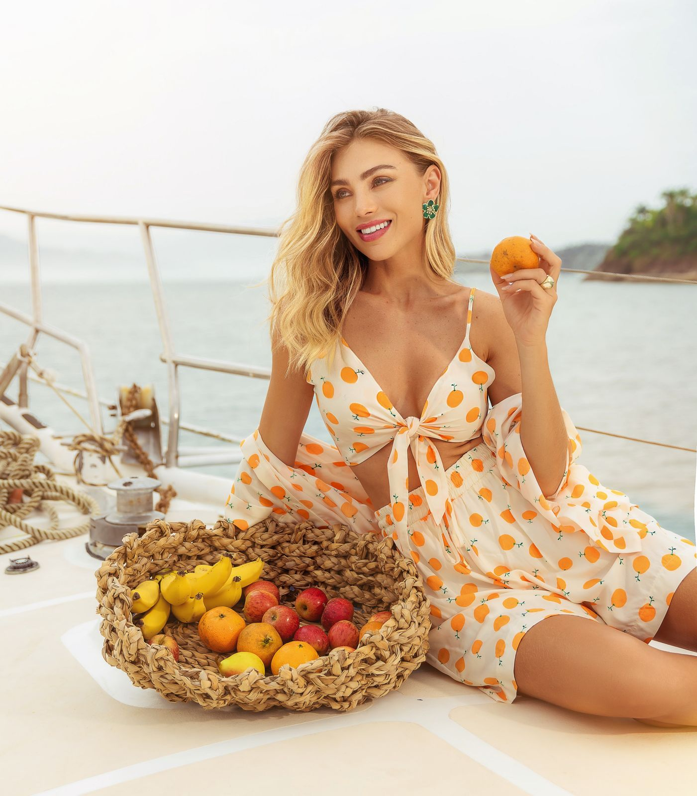 Conjunto Lemon Viscose Detalhe Camisa Colarinho Francês + Top Amarração