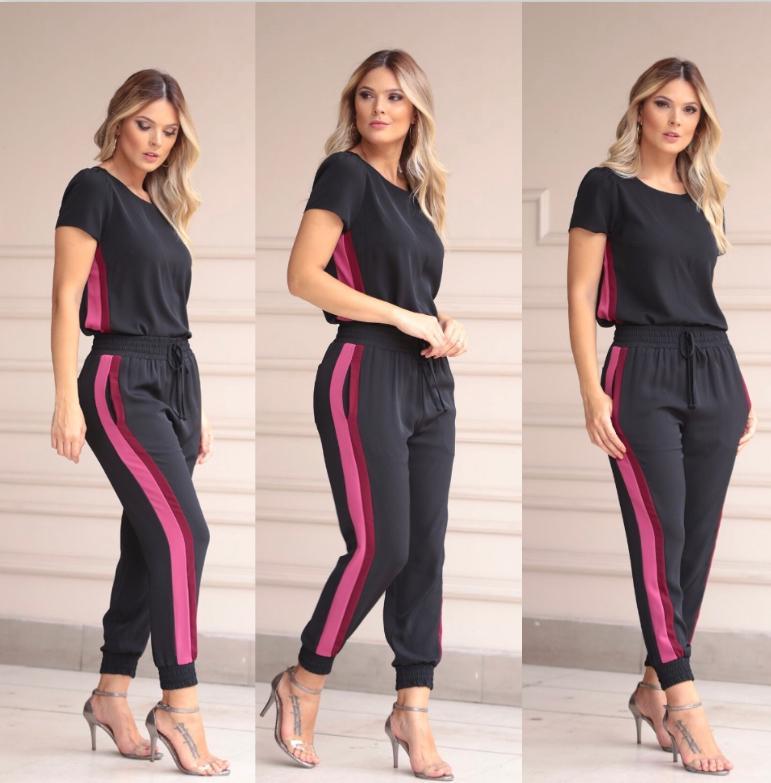 Conjunto Leticia Crepe  Bicolor (Blusa e Calça)