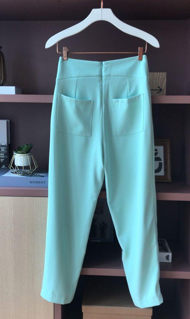Conjunto Leticia Crepe Detalhe Calça Cintura Alta C/ Bolso 5% Elastano