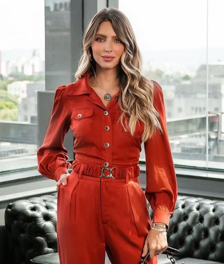 Conjunto Lilian Rayon Twill  (Jaqueta e Calça ) Com Cinto