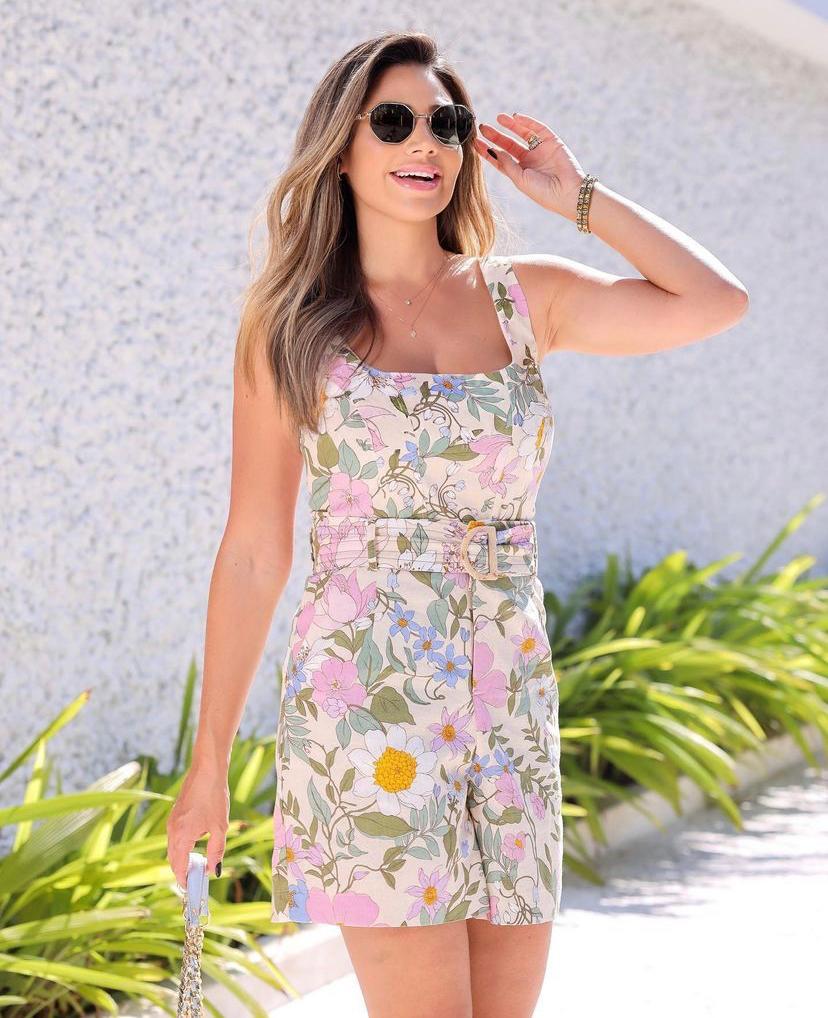 Conjunto Luciane Floral Viscolinho E Shorts Com Cinto