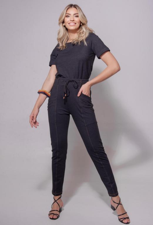 Conjunto Mari Moletinho Jeans 8% Elastano Detalhe Pesponto Amarração Bolso