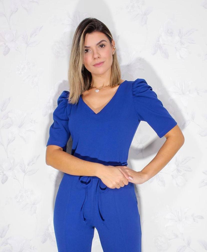 Conjunto Marilia Crepe Malha Manga Bufante 4% Elastano (Calça e Blusa)