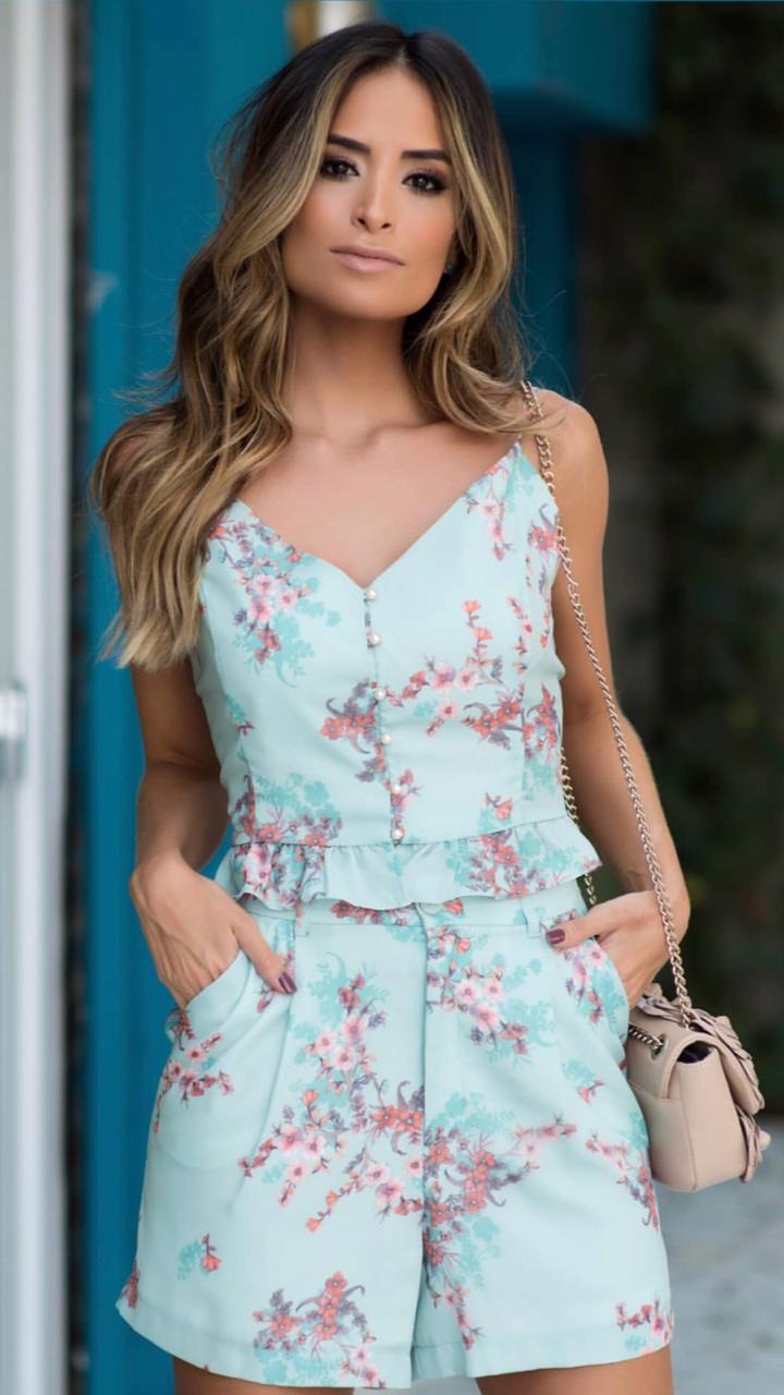 Conjunto Milena Crepe Floral Verde (Shorts Forrado)