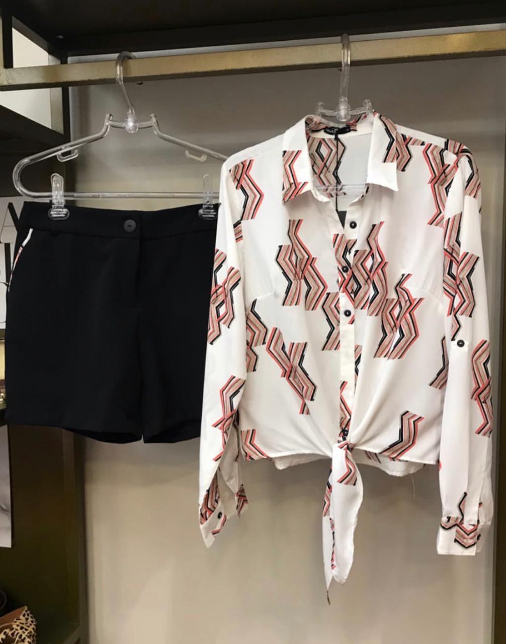 Conjunto  Nuxx  Alfaiataria Crepe Camisa & Shorts