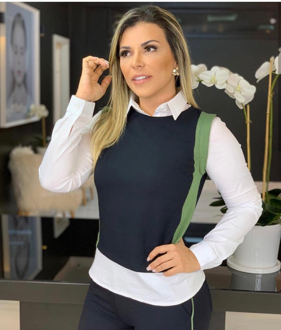 Conjunto Nuxx Moletinho Camisa Sopreposição