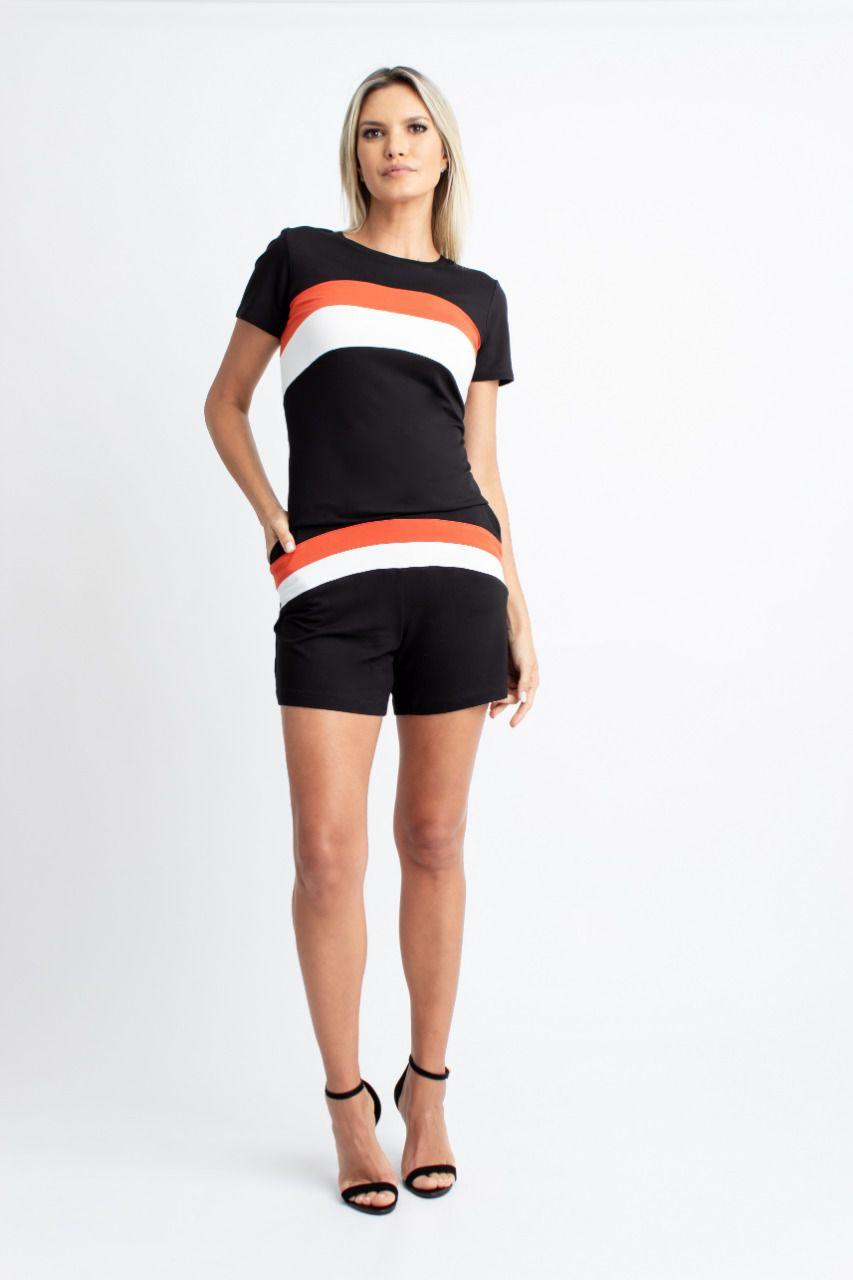 Conjunto Nuxx Moletinho Shorts Detalhe Listras