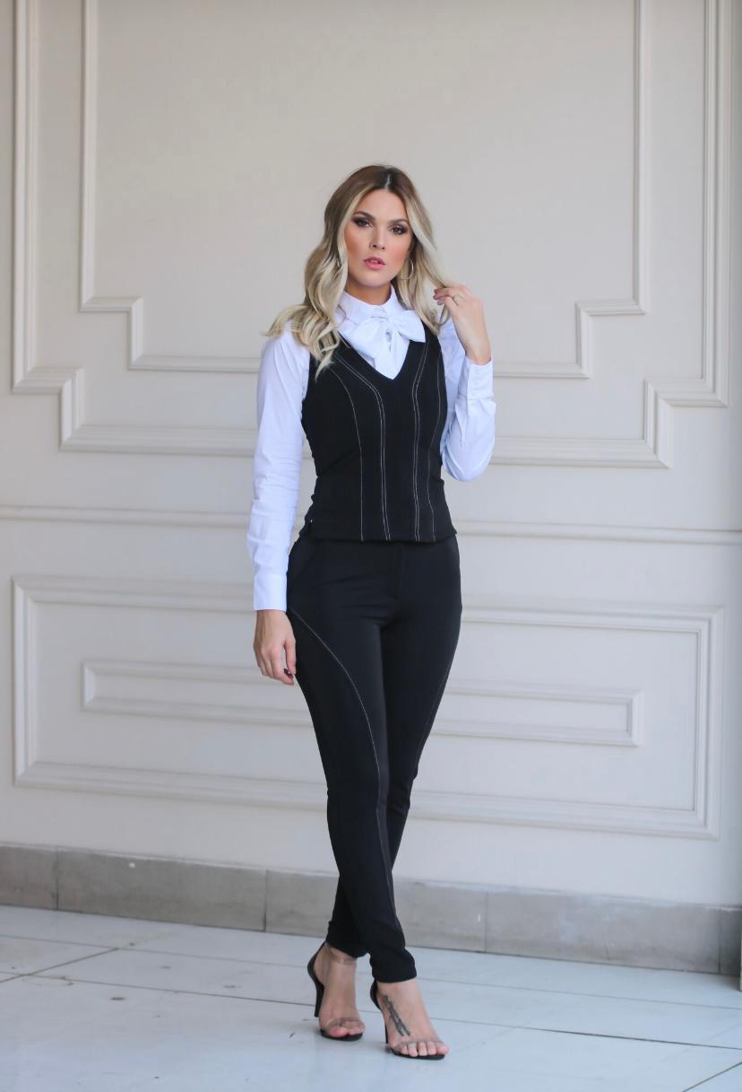 Conjunto Nuxx Montaria Regata e Calça Preto Liso (Não Acompanha Camisa)