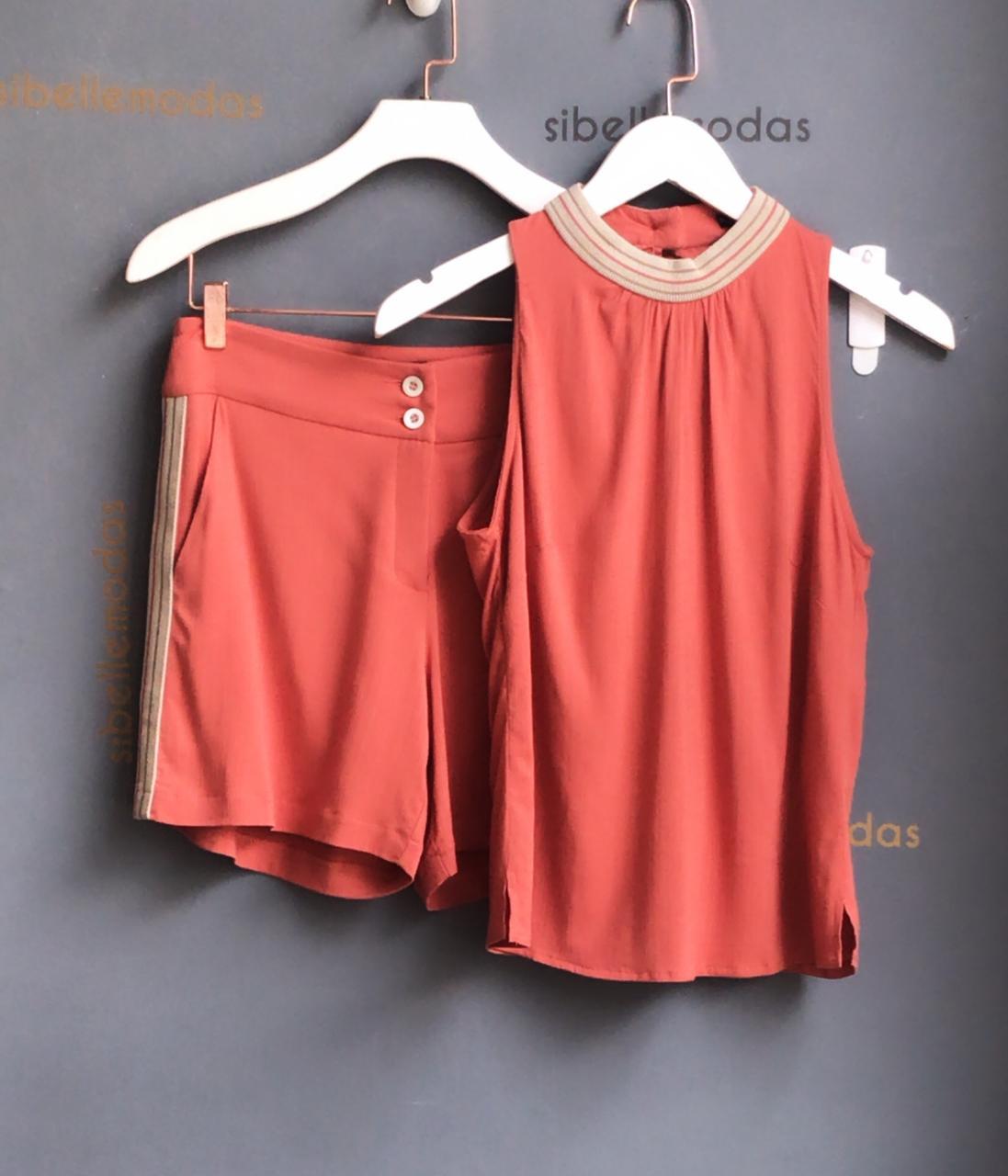 Conjunto Nuxx  Viscolinho  Detalhe tricot Gola