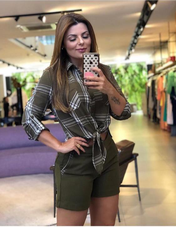 Conjunto  NUxx Pamela Crepe Camisa Xadrez e Shorts Alfaiataria PROMOÇÃO