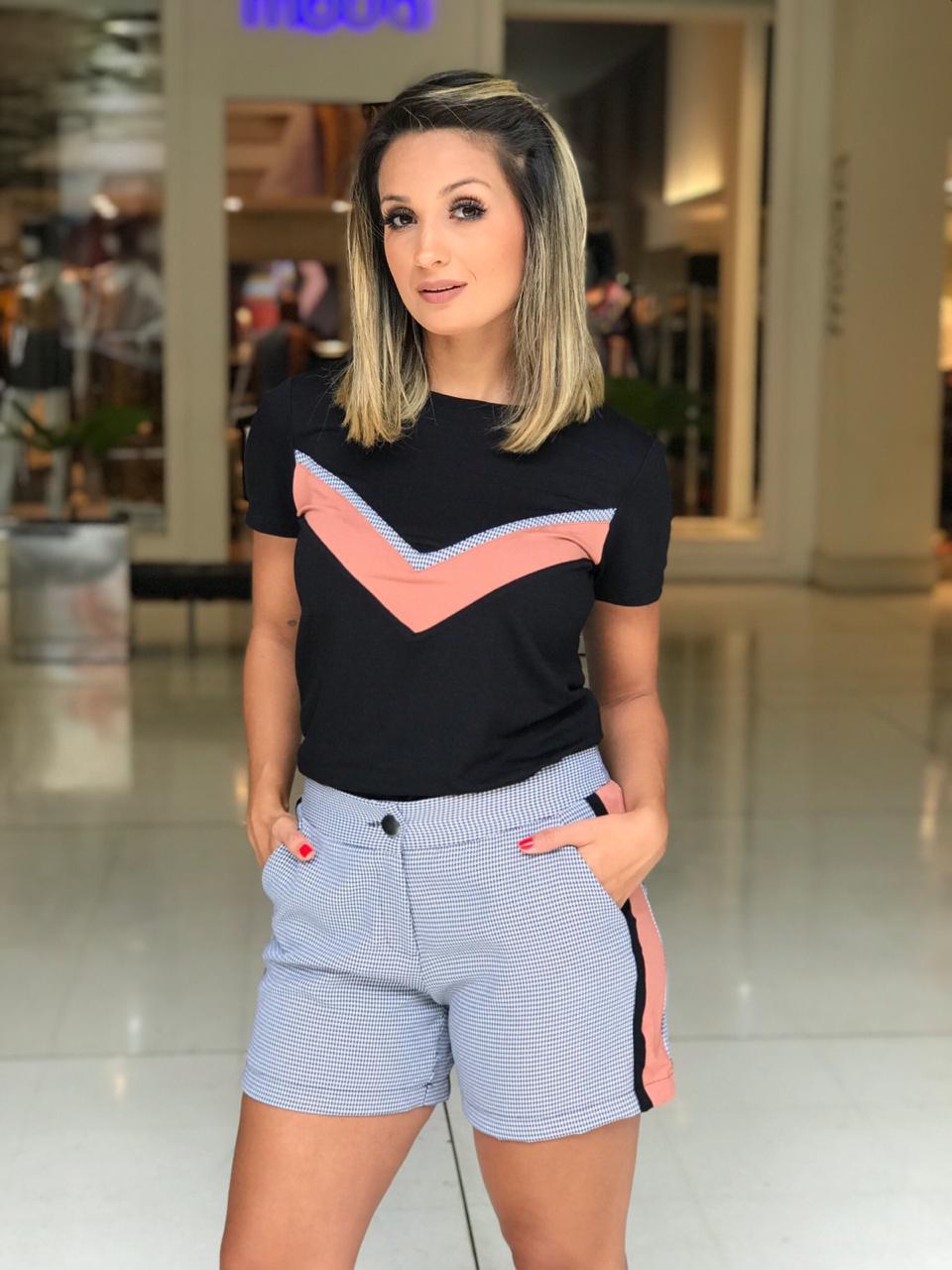 Conjunto NUxx Simone Moletinho & Xadrez Cores Rose e Caramelo