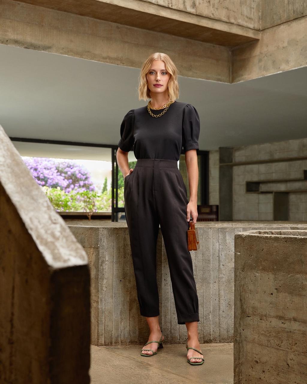 Conjunto Unique  Crepe Blusa & Calça Cintura Alta