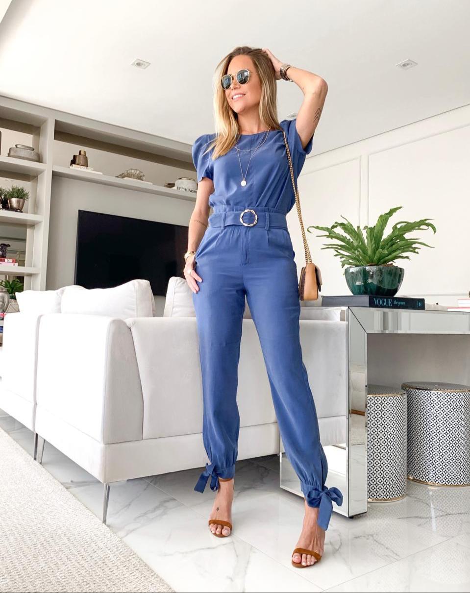 Conjunto Vanessa Cupro (Blusa e Calça) + Cinto (Mesmo tecido)