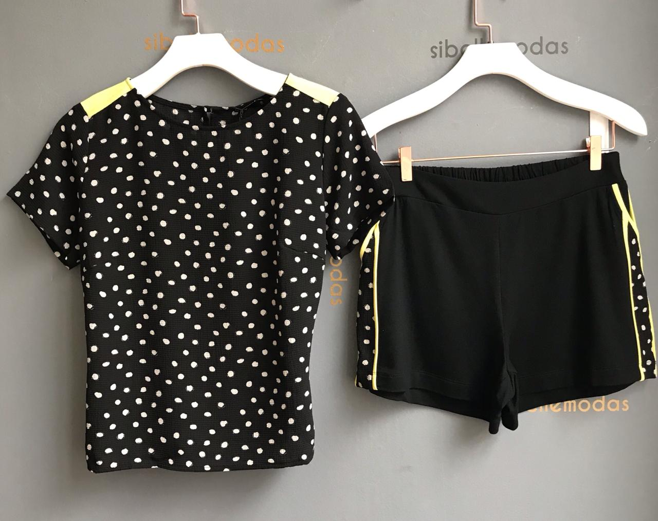 Conjunto Vani Blusa Crepe Poa e Shorts Moletinho Detalhe