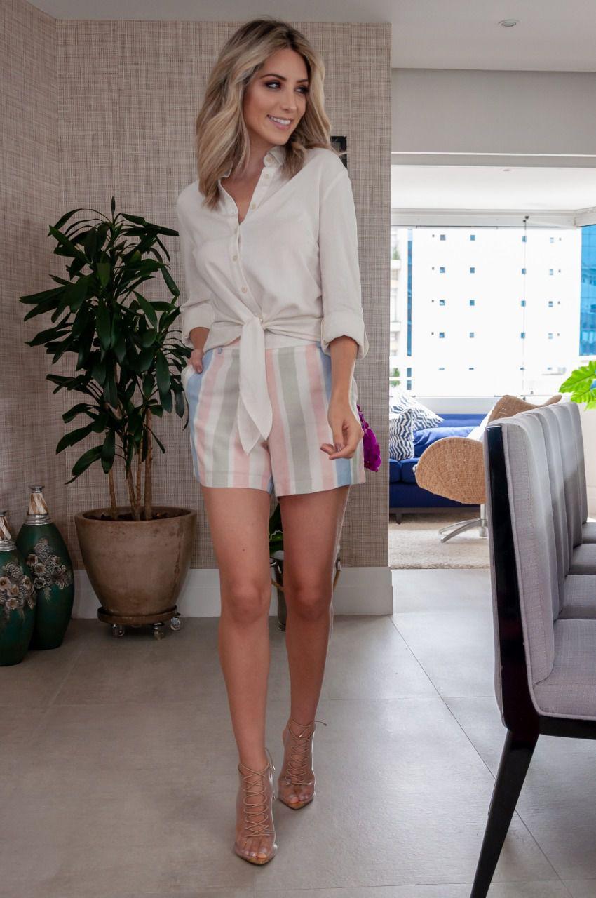 Conjunto Veronica Viscolinho Blusa Lisa e Shorts Listrado