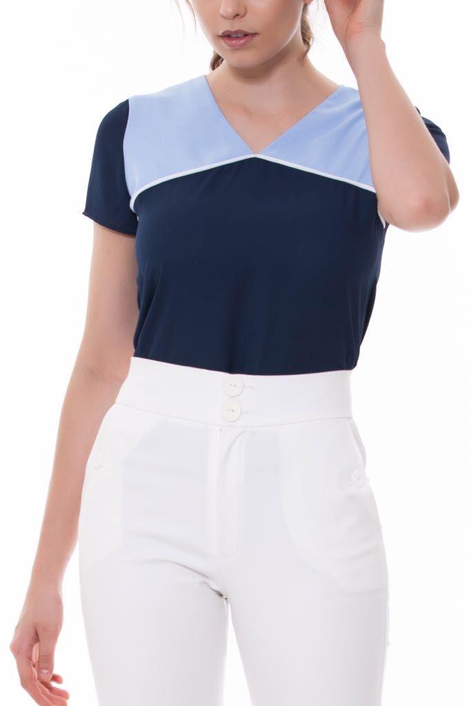 Blusa Clarice Crepe Bicolor Azul e Rose