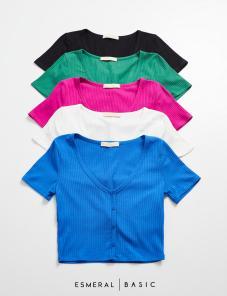 Blusa Esmeral  Cropped Canelado 7% Elastano Detalhe Botões