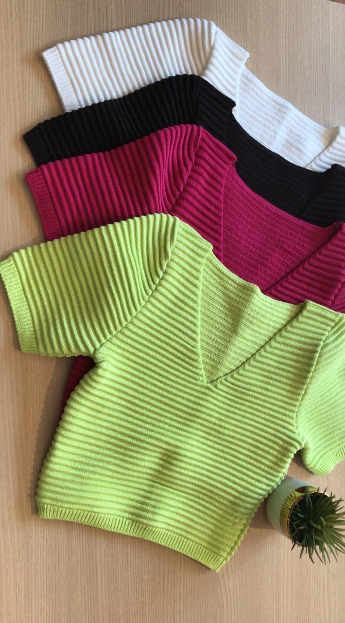 Blusa Laure Cropped  Canelado Detalhe Decote
