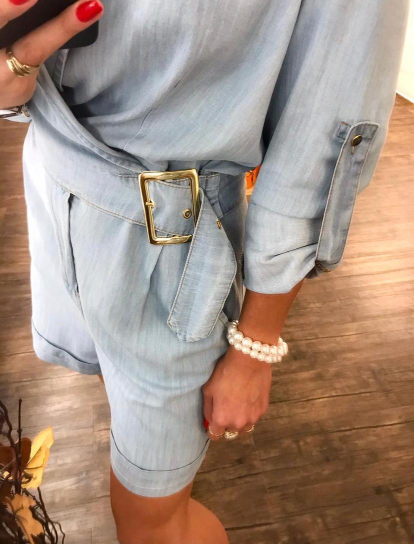 Macacão Morina Jeans Curto