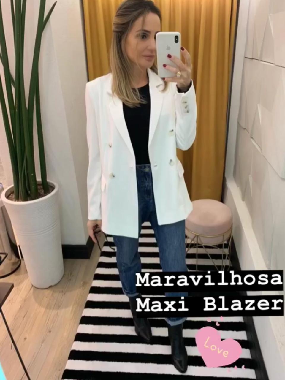 Maxi Blazer Serafina Cores   Off, AzuL, Coral, Preto, Rosa, Marinho, Azul Claro
