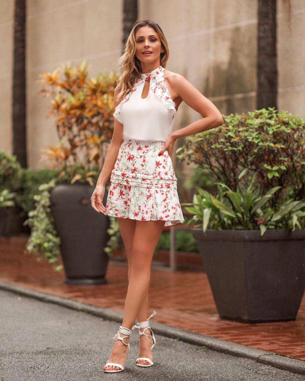 Regata Joice Crepe Mixi Babado Floral