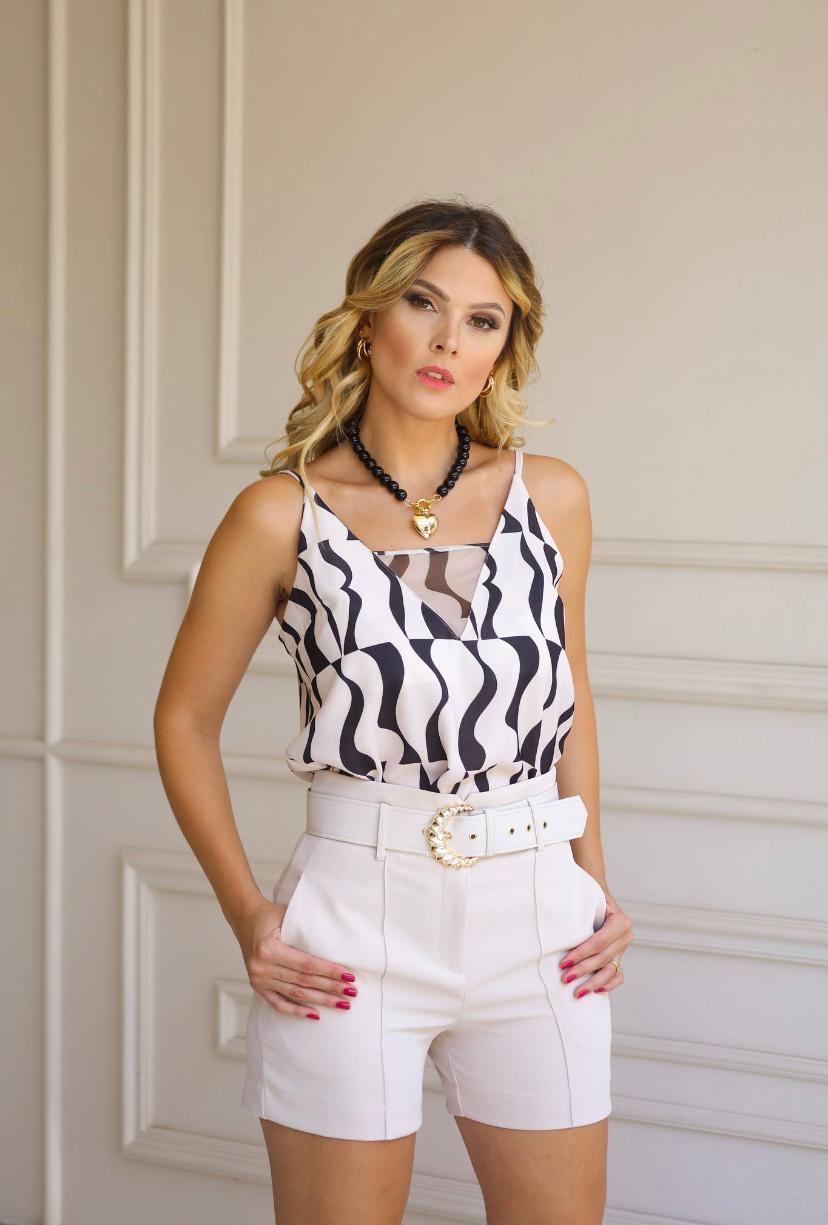 Regata Valeria Crepe Detalhe Transparencia