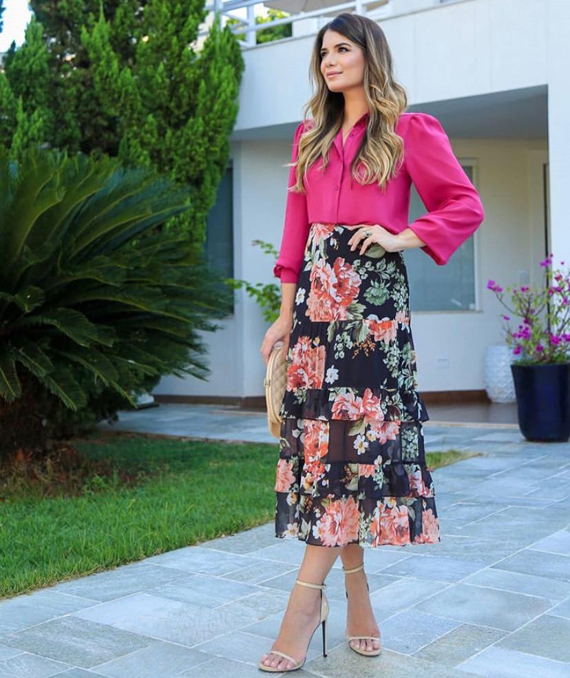 Saia Ariane Midi Crepe Floral Babados