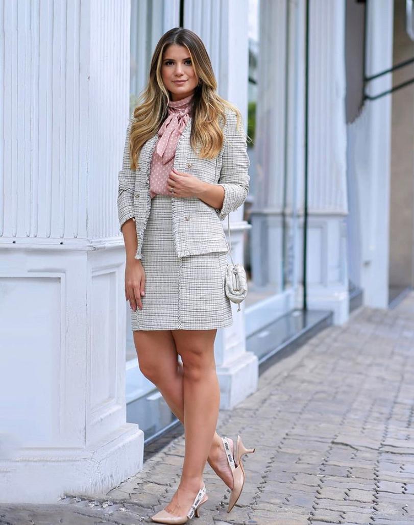 Saia Ariane Tweed Detalhe Botões