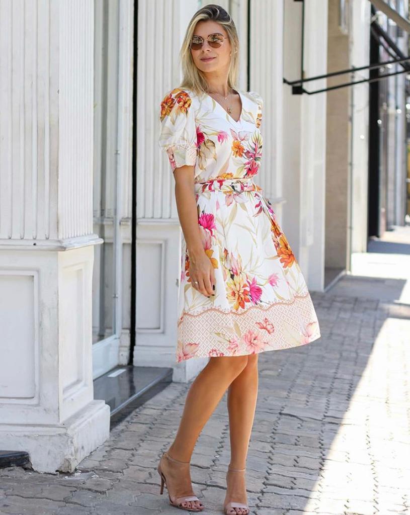 Saia Cristina Crepe Floral Midi