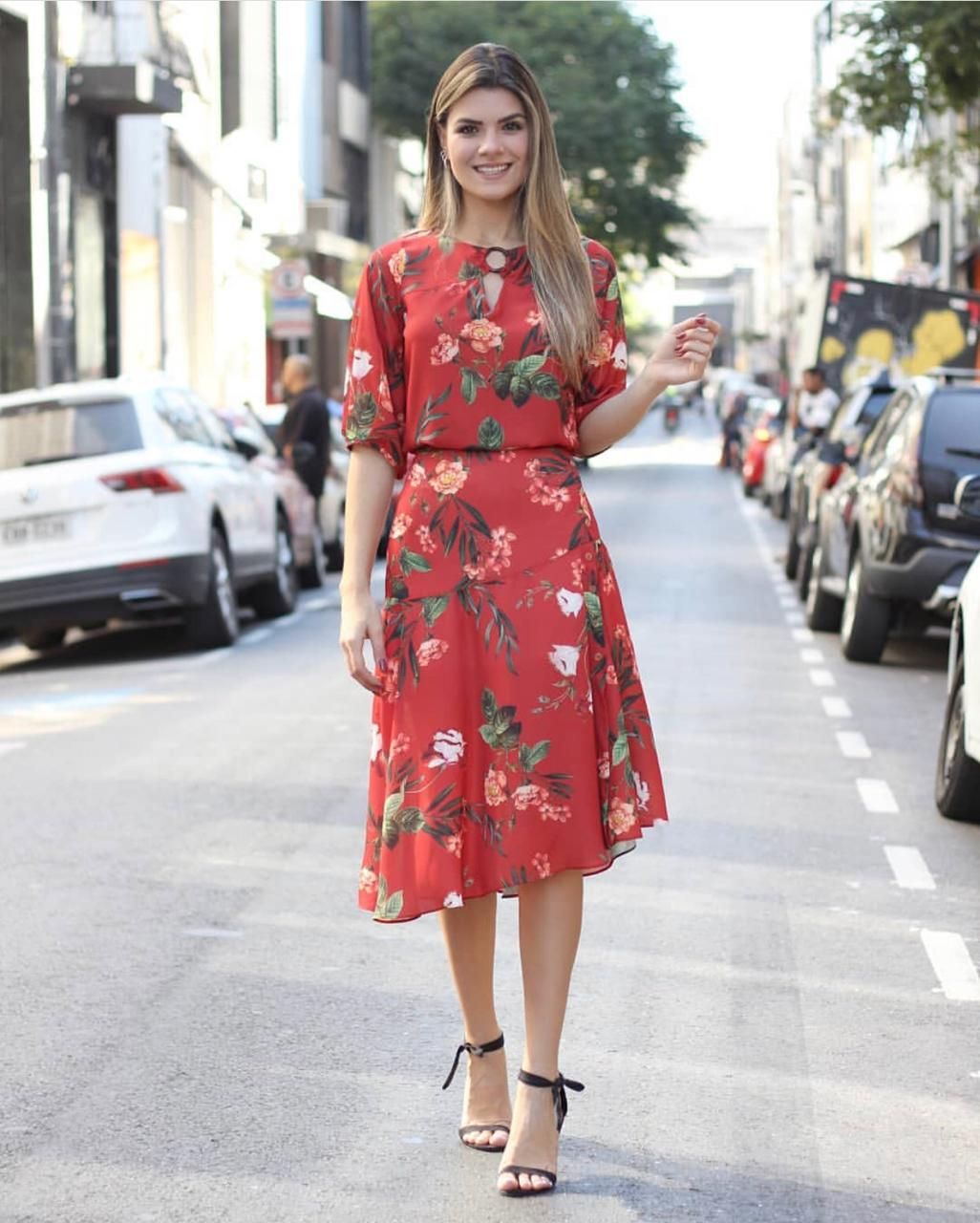 Saia Cristina Midi Crepe Floral Com Botões